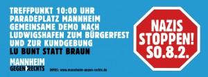 LU bunt statt braun!  - Demonstration am 8.2. gegen Kundgebung rechter Hooligans