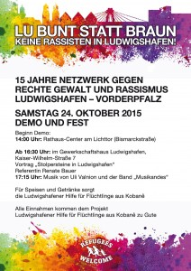 Ludwigshafen bleibt bunt - Demo und Fest am 24.10.2015