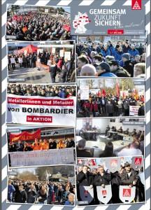 Plakat der IG Metall zu dem bundesweiten zweiten Aktionstag der Bombardier Werke in Deutschland