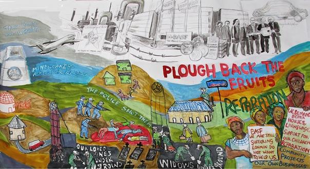 Witwen von Marikana, PLOUGH BACK THE FRUITS, Ölpastelkreide & Lebensmittelfarbe auf Papier, 150 x 280cm, Februar 2016 (in Druckqualität unter: http://basflonmin.com/home/de/presse)