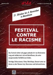 Asta-Veranstaltungsreihe gegen Diskriminierung: Das Festival contre le racisme startet am 21. Oktober