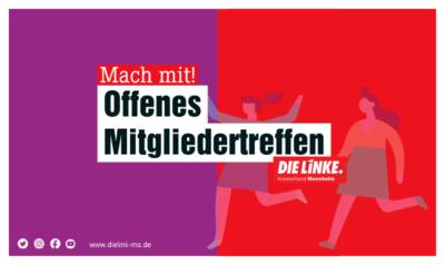 DIE LINKE Kreisverband Mannheim - Öffentliche Mitgliederversammlung @ Kreisverbandsbüro Mannheim | Mannheim | Baden-Württemberg | Deutschland