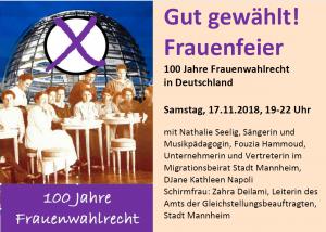 Gut gewählt! Frauenfeier - 100 Jahre Frauenwahlrecht in Deutschland - Um Anmeldung wird gebeten @  Ökumenischen Bildungszentrum sanctclara | Mannheim | Baden-Württemberg | Deutschland