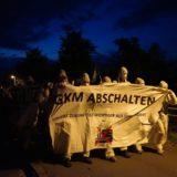 Die ersten Aktivist*innen ziehen im Morgengrauen zum GKM.