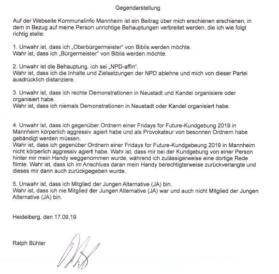 """Gegendarstellung: """"Ralph Bühler, AfD- und NPD-affin, möchte Oberbürgermeister von Biblis werden"""" - Artikel vom 30.08.2019"""