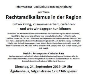 Rechtsradikalismus in der Region / KIM-Reporter hält Vortrag in Speyer/Rhein @ Ägidienhaus Speyer | Speyer | Rheinland-Pfalz | Deutschland