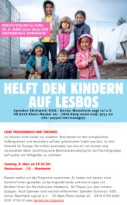 Benefizkonzert Hilfe für Geflüchtete auf Lesbos @ EINTANZHAUS e.V. TRINITATISKIRCHE | Mannheim | Baden-Württemberg | Deutschland