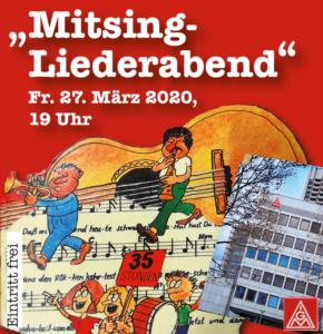 Mitsing-Liederabend @ Gewerkschaftshaus, 3.OG | Mannheim | Baden-Württemberg | Deutschland