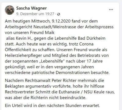 Arbeitsgericht: Lebenshilfe Bad Dürkheim muss gekündigten Neonazi weiter beschäftigen