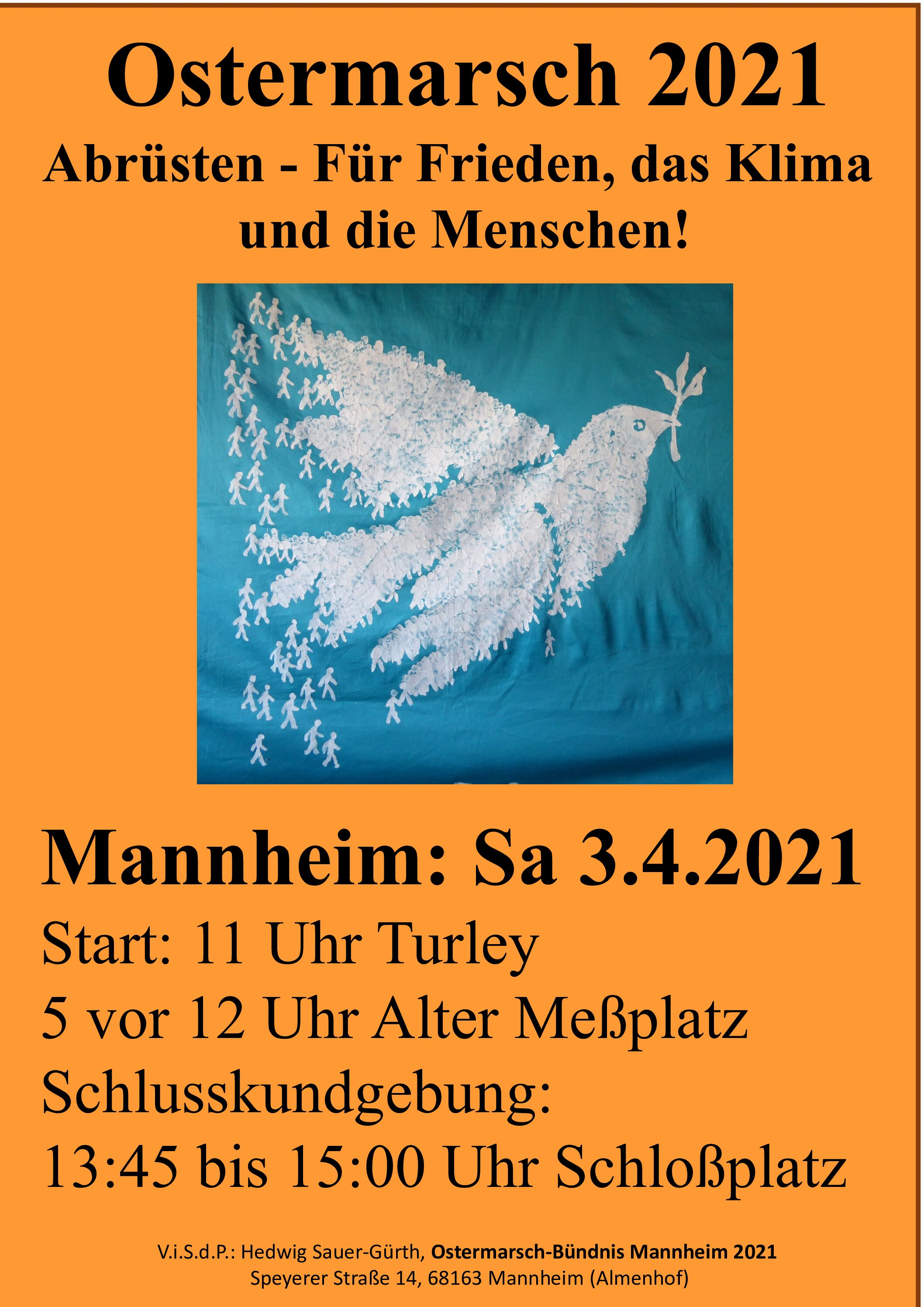 Ostermarsch 2021: Raus für Frieden und Abrüstung am Ostersamstag