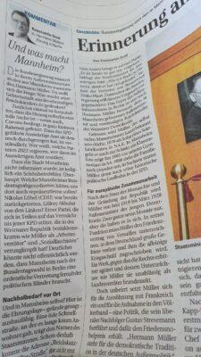 Mannheimer Morgen: Ehrung eines Politikers als Anlass zur Verunglimpfung der LINKEN als Anti-Demokraten?